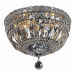 Classique 3 Light Flush Crystal Chandelier in Chrome and Clear - Crystal Palace Lighting