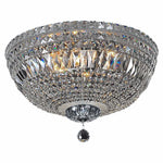 Classique 5 Light Flush Crystal Chandelier in Chrome and Clear - crystal-palace-lighting