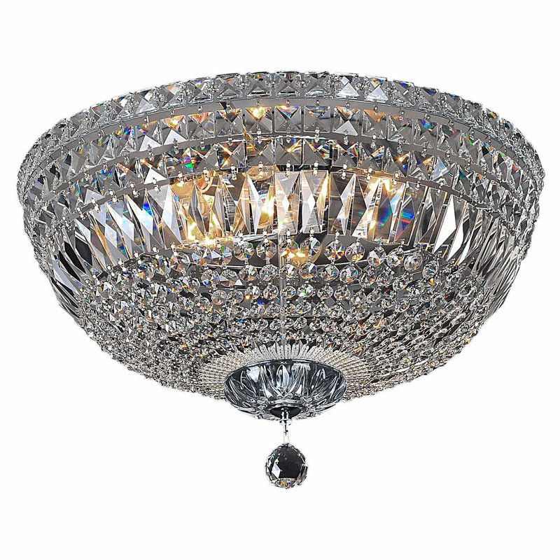 Classique 5 Light Flush Crystal Chandelier in Chrome and Clear - Crystal Palace Lighting
