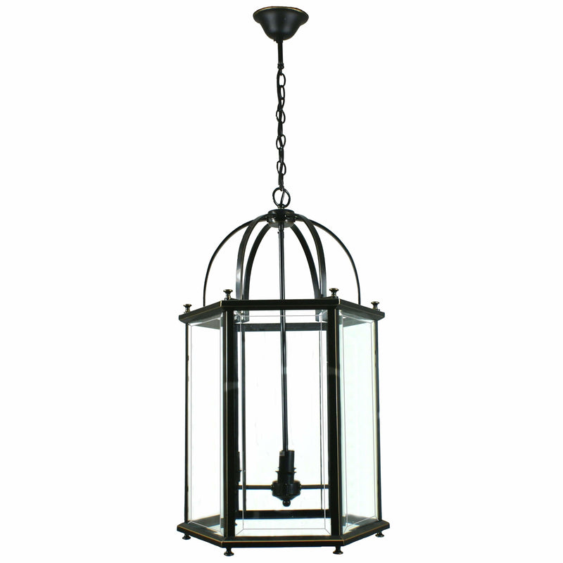Country Lantern 4 Light Pendant in Bronze and Clear - Crystal Palace Lighting