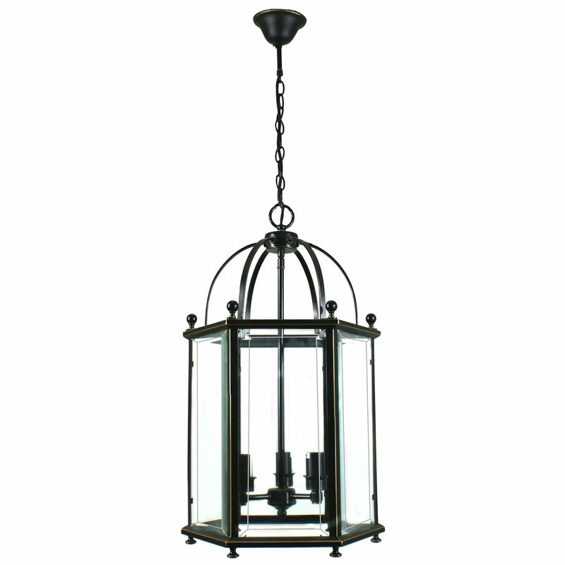 Country Lantern 3 Light Pendant in Bronze and Clear - Crystal Palace Lighting