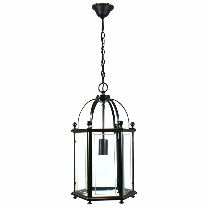 Country Lantern 1 Light Pendant in Bronze and Clear - Crystal Palace Lighting