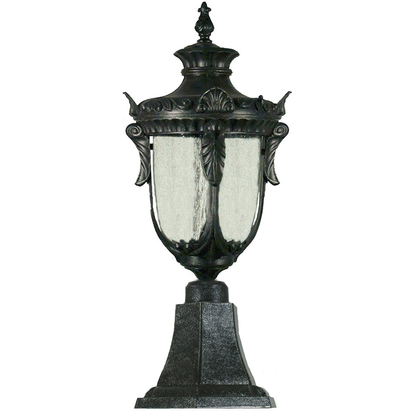 Wellington Exterior Pillar Mount in Antique Black, 2 Size Options - Crystal Palace Lighting