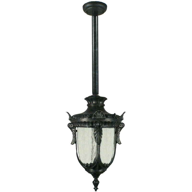 Wellington Exterior Pendant with Rod Set in Antique Black - Crystal Palace Lighting
