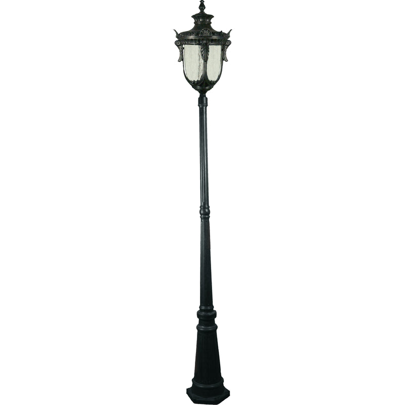 Wellington 3 Piece Lamp Post in Antique Black - Crystal Palace Lighting