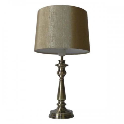 Antique Brass Touch Lamp With Linen Shade - Crystal Palace Lighting