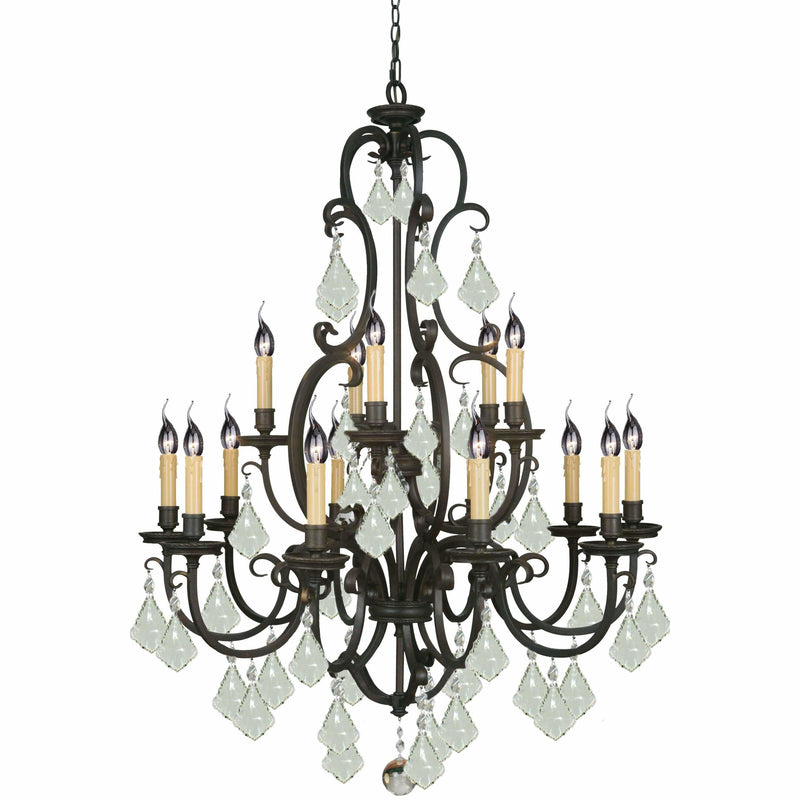 Louis 15th 15 Light Chandelier in Bronze with Clear Crystals - Crystal Palace Lighting