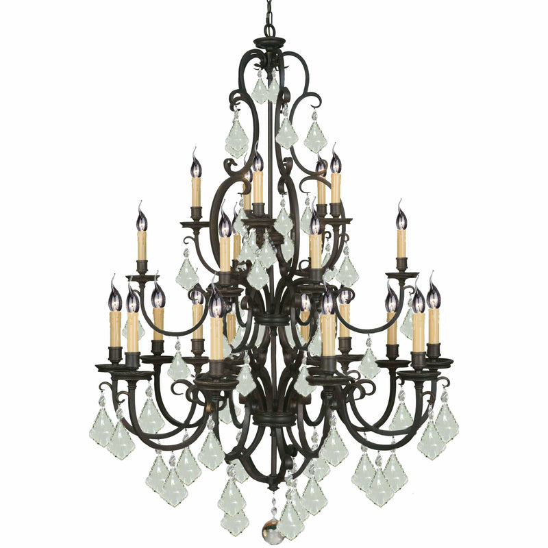 Louis 15th 24 Light Chandelier in Bronze with Clear Crystals - Crystal Palace Lighting