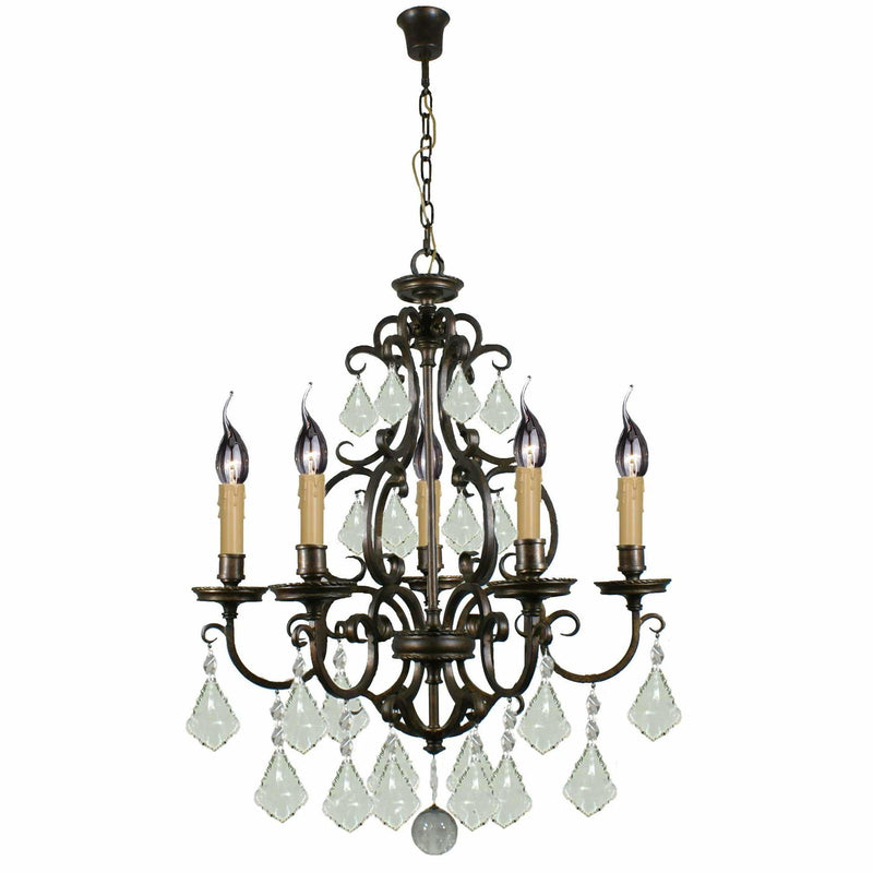 Louis 15th 5 Light Chandelier in Bronze with Clear Crystals - Crystal Palace Lighting