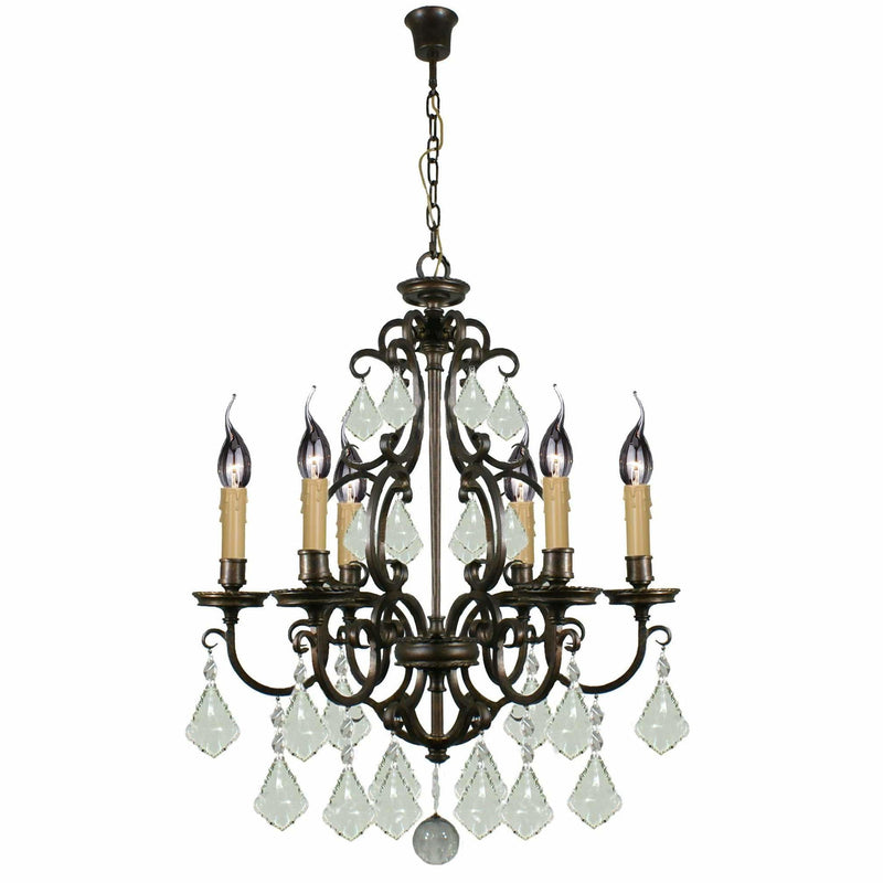 Louis 15th 6 Light Chandelier in Bronze with Clear Crystals - Crystal Palace Lighting