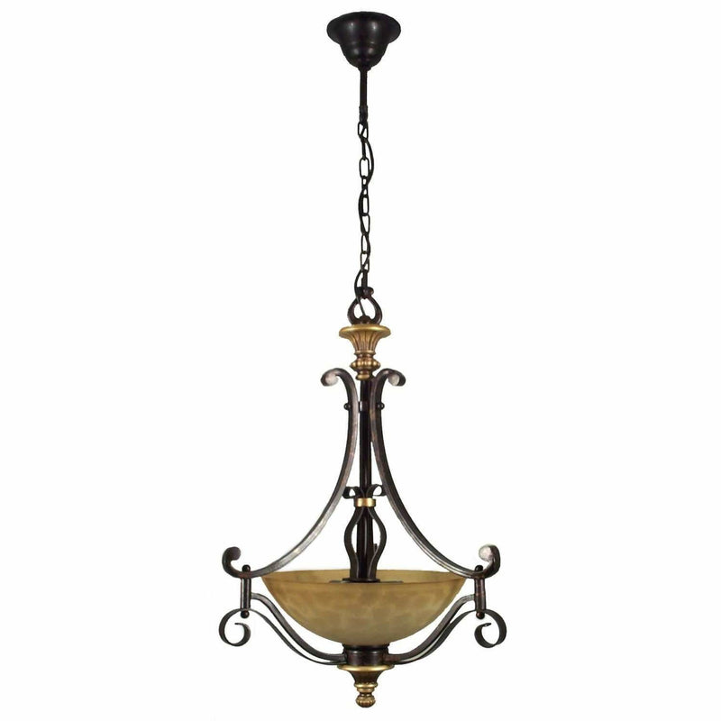 Manhattan 3 Light Single Suspension Light in Bronze - Crystal Palace Lighting