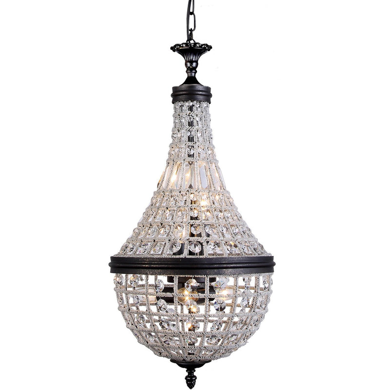 Marseilles 6 Light Crystal Basket Chandelier in Bronze and Clear - Crystal Palace Lighting