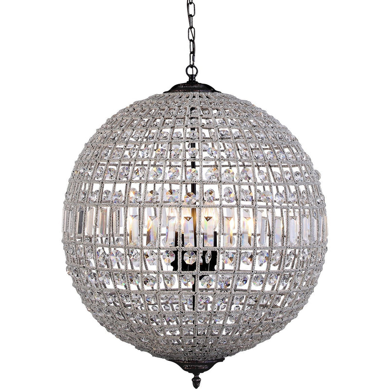 Marseilles 3 Light Crystal Ball Chandelier in Bronze - Crystal Palace Lighting