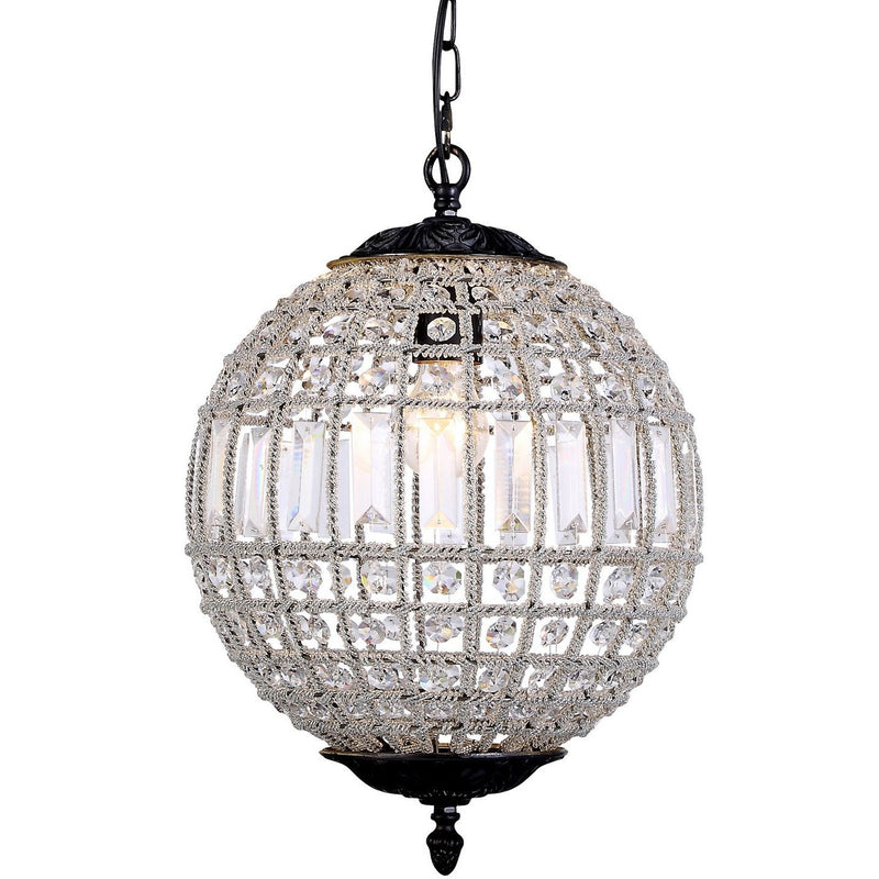 Marseilles 1 Light Ball Chandelier in Bronze and Clear - Crystal Palace Lighting