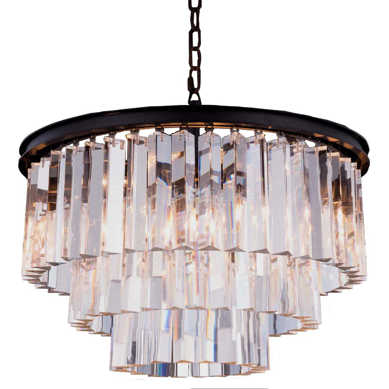 Odeon 3 Tier 6 Light Chandelier in Bronze with Clear Crystals - Crystal Palace Lighting