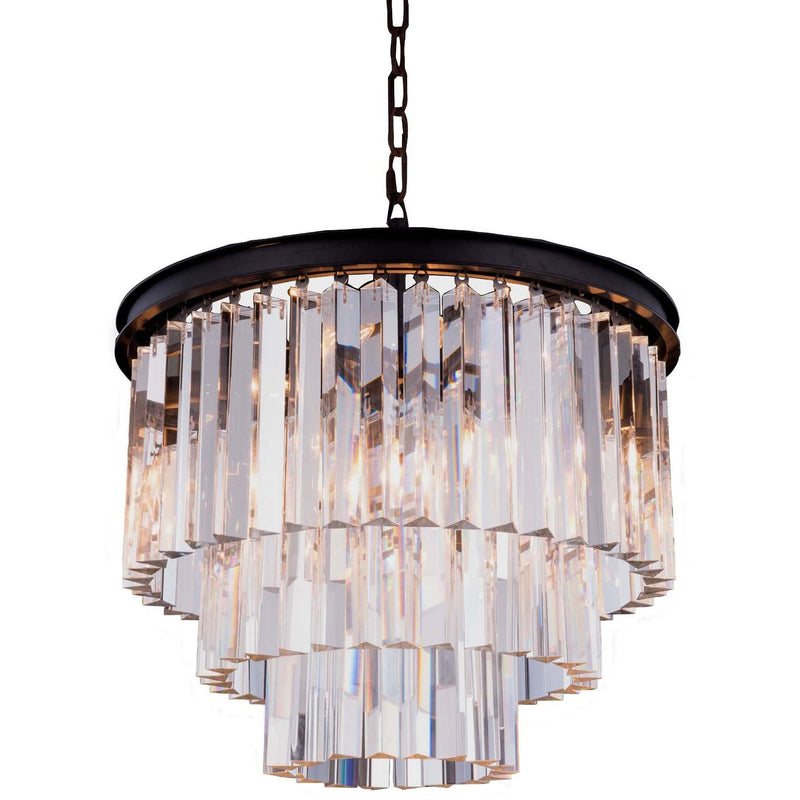 Odeon 3 Tier 3 Light Chandelier in Bronze with Clear Crystals - Crystal Palace Lighting