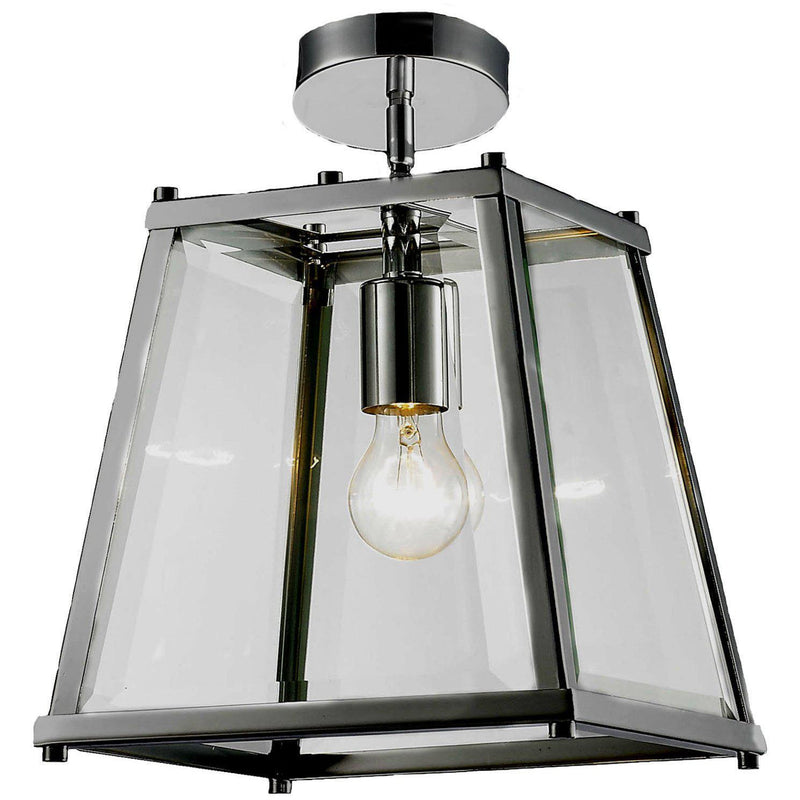 Oregon Close to Ceiling Light in Chrome and Clear - Crystal Palace Lighting