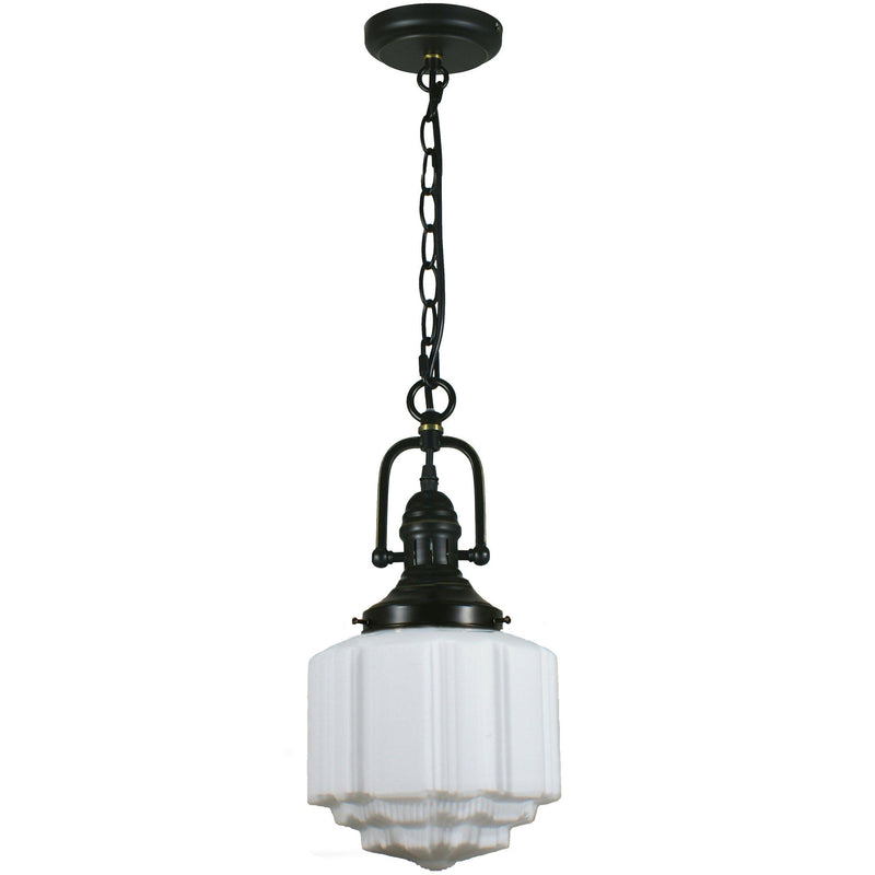 Paramount Pendant in Bronze with St Kilda Shade - Crystal Palace Lighting