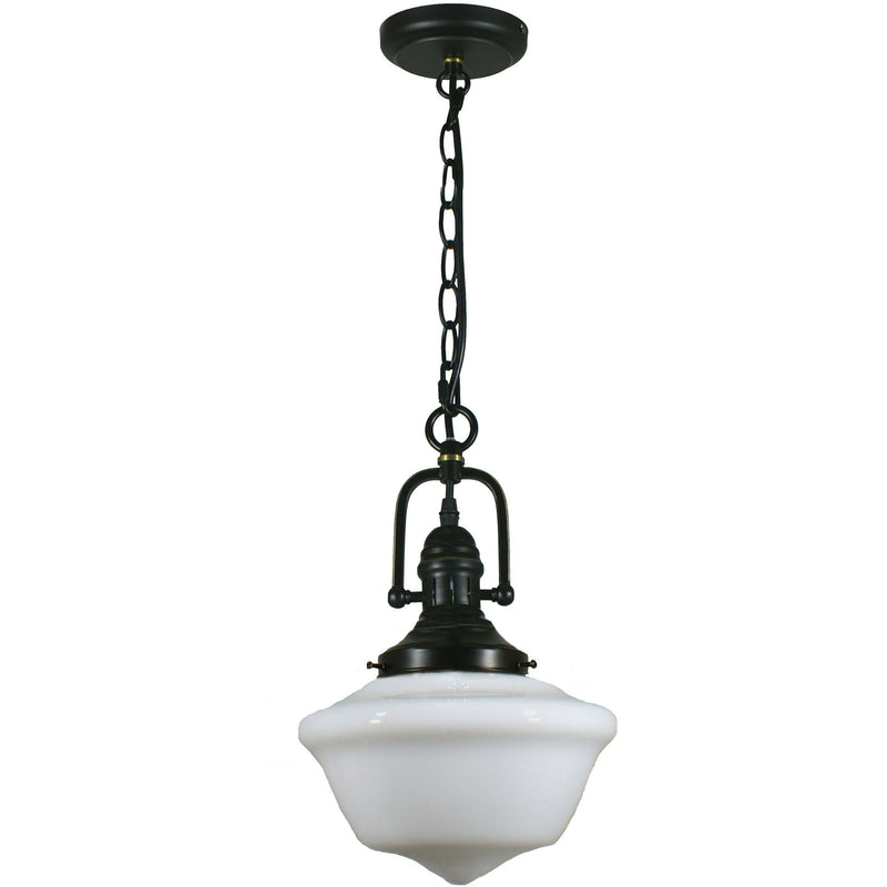 Paramount Pendant in Bronze with Victorian Schoolhouse Shade, 3 Size Options - Crystal Palace Lighting