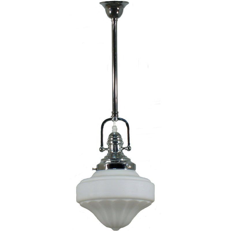 Paramount Rod Pendant in Chrome with Derby Shade - Crystal Palace Lighting
