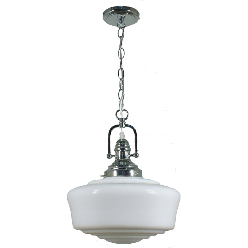 Paramount Pendant in Chrome with Moulins Shade - Crystal Palace Lighting