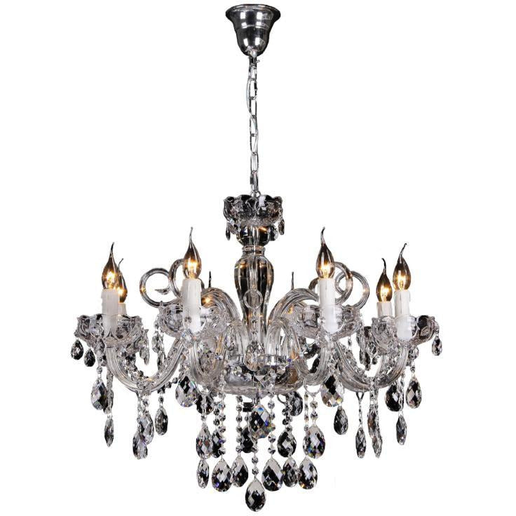 Prague 8 Light Chandelier in Chrome with Clear Crystals - crystal-palace-lighting