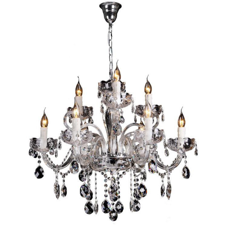 Prague 9 Light Chandelier in Chrome with Clear Crystals - Crystal Palace Lighting