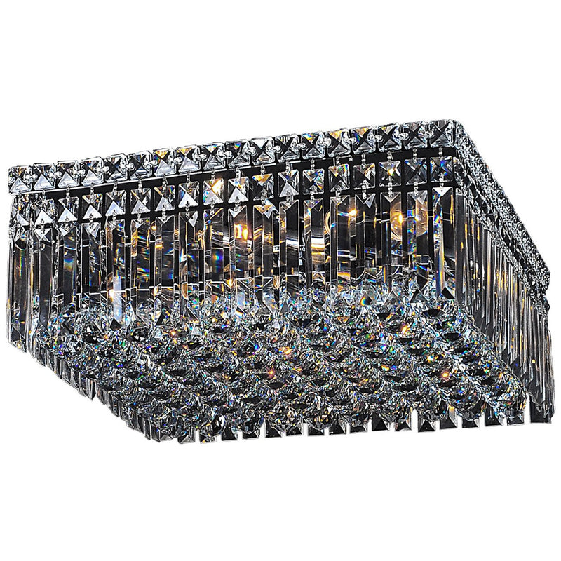 Quadrato 4 Light Flush Chandelier in Chrome and Clear - Crystal Palace Lighting