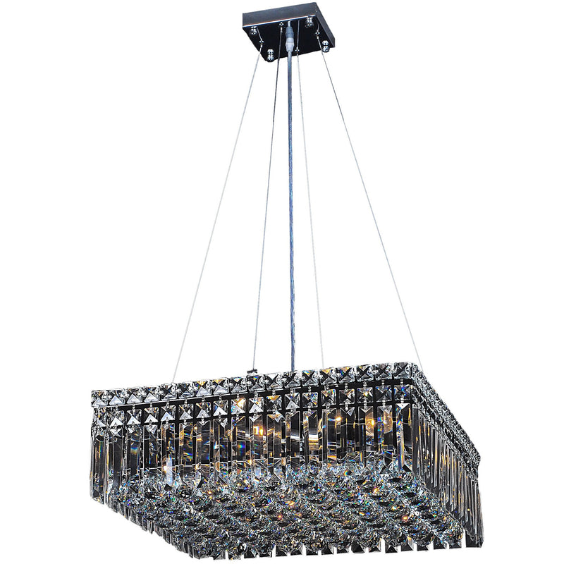 Quadrato 5 Light Suspension Chandelier in Chrome with Clear Crystals - Crystal Palace Lighting