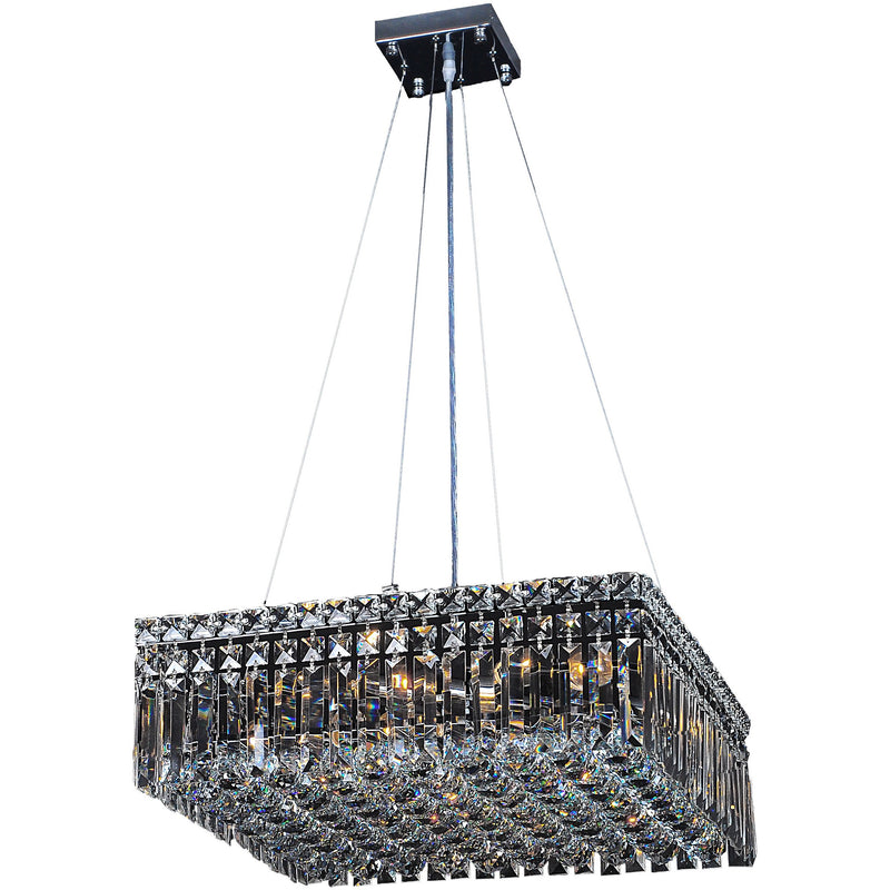 Quadrato 6 Light Suspension Chandelier in Chrome with Clear Crystals - Crystal Palace Lighting