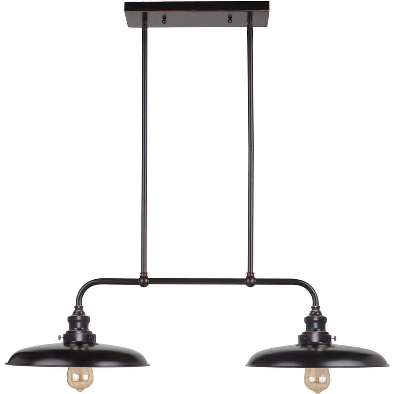 Raze 2 Light Bench Pendant with Rod Set in Bronze