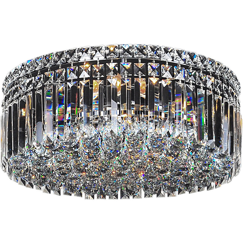 Rotondo 3 Light Flush Chandelier in Chrome with Clear Crystals - Crystal Palace Lighting