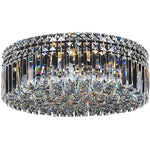 Rotondo 5 Light Flush Chandelier in Chrome with Clear Crystals - Crystal Palace Lighting