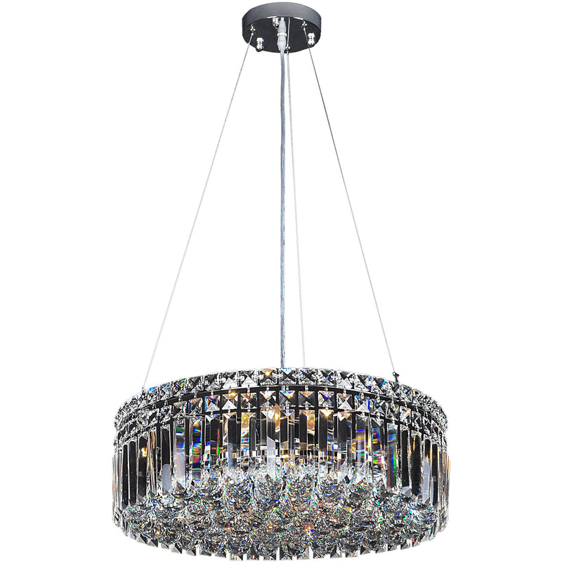 Rotondo 5 Light Suspension Chandelier in Chrome with Clear Crystals - crystal-palace-lighting