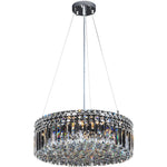 Rotondo 6 Light Suspension Chandelier in Chrome with Clear Crystals - Crystal Palace Lighting