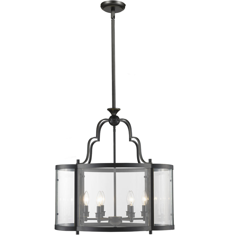 Rutherford 6 Light Pendant in Bronze and Clear - Crystal Palace Lighting