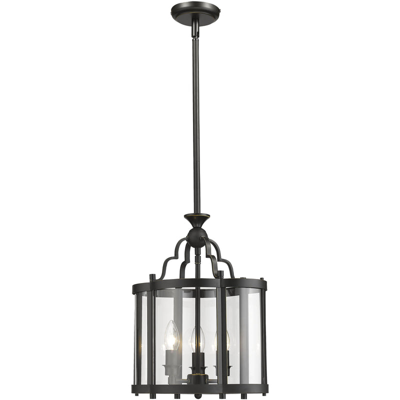Rutherford 3 Light Pendant in Bronze and Clear - Crystal Palace Lighting
