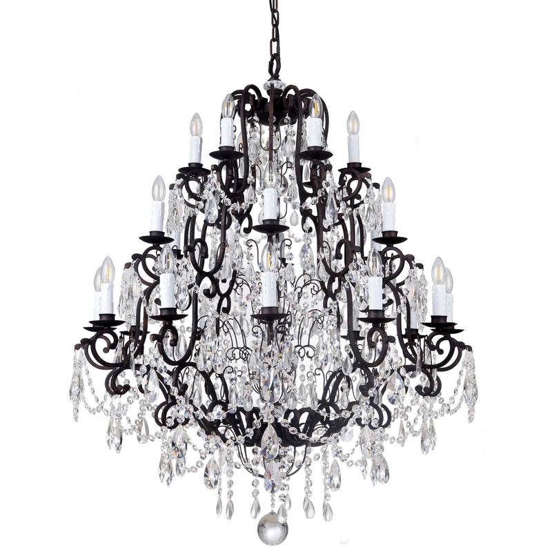 Salzburg 24 Light Chandelier in Bronze with Clear Crystals - Crystal Palace Lighting