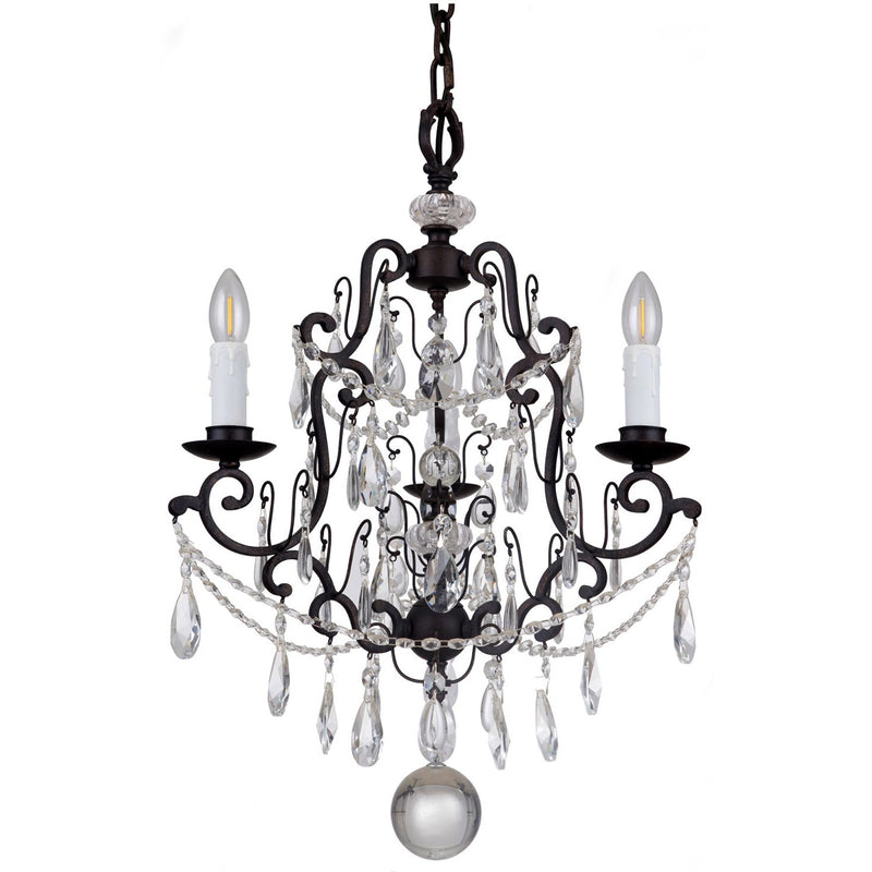 Salzburg 3 Light Chandelier in Bronze with Clear Crystals