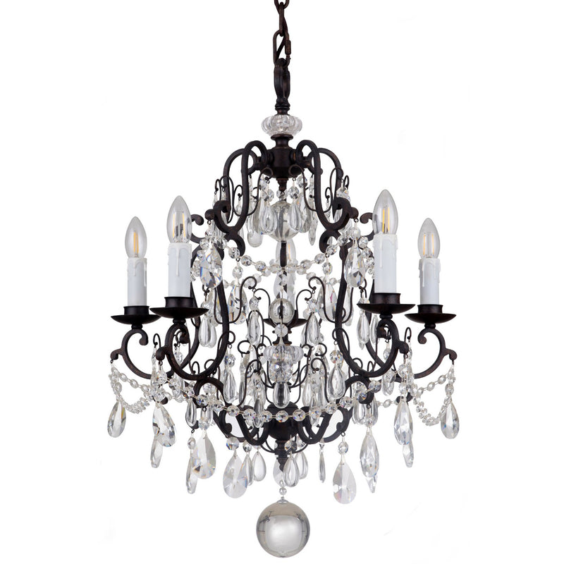 Salzburg 5 Light Chandelier in Bronze with Clear Crystals - Crystal Palace Lighting