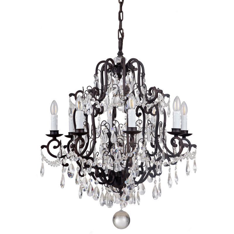 Salzburg 8 Light Chandelier in Bronze with Clear Crystals - Crystal Palace Lighting