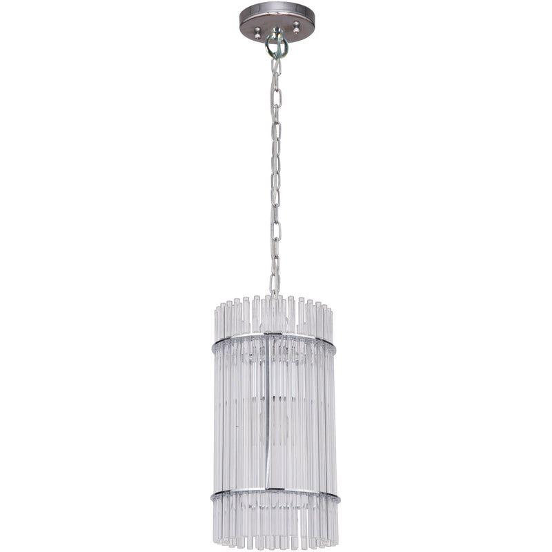 Stella 1 Light Pendant in Chrome with Clear Crystals - Crystal Palace Lighting