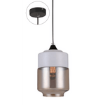 Casa Pendant, Oblong in White with Amber Glass - Crystal Palace Lighting