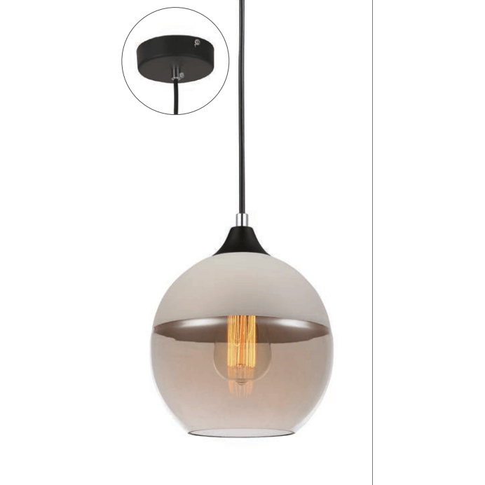 Casa Pendant, Sphere in White with Amber Glass - Crystal Palace Lighting