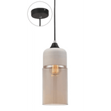 Casa Pendant, Cylinder in White with Amber Glass - Crystal Palace Lighting