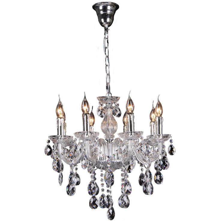Venice 8 Light Chandelier in Chrome with Clear Crystals - Crystal Palace Lighting