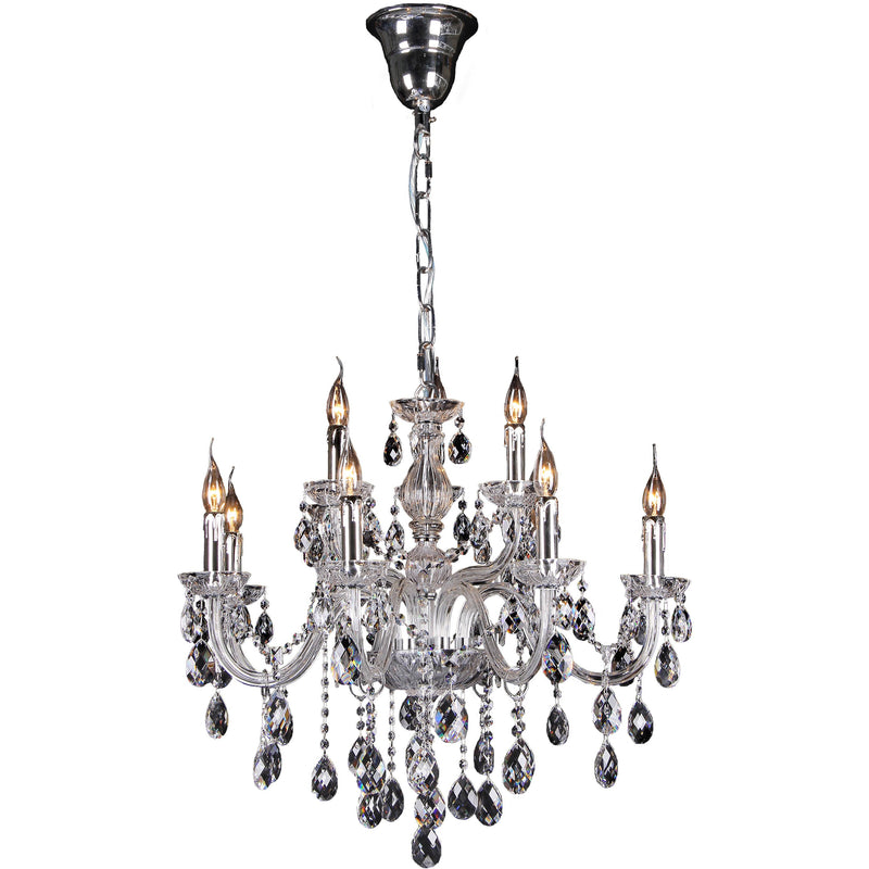 Venice 9 Light Chandelier in Chrome with Clear Crystals - Crystal Palace Lighting