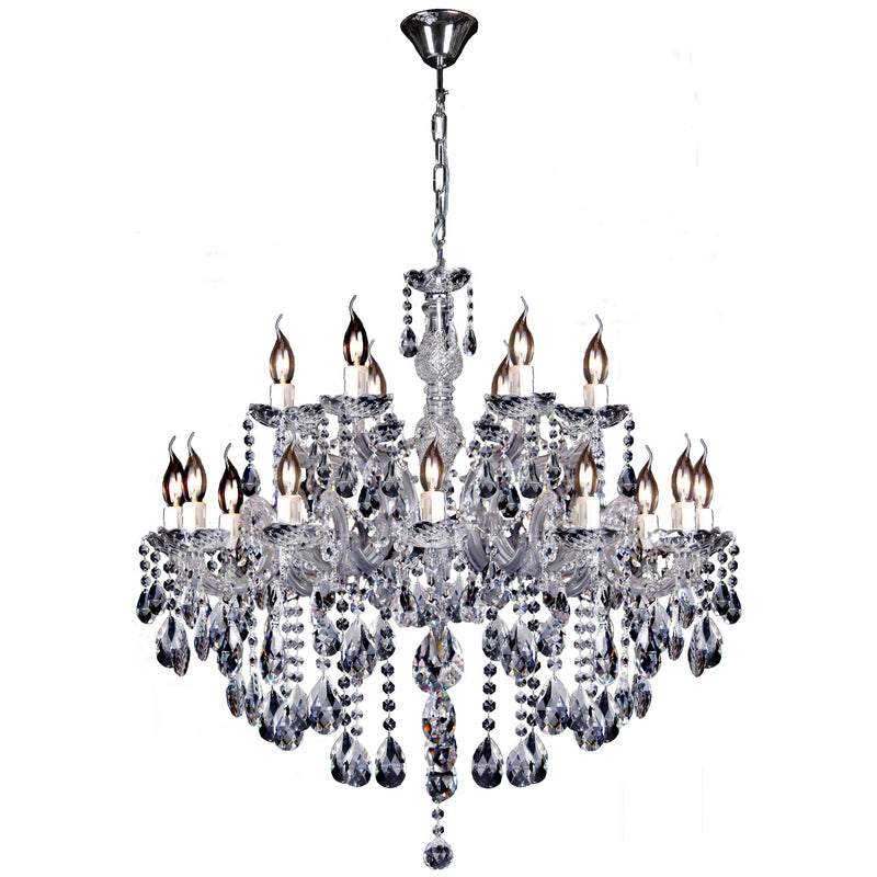 Zurich 18 Light Chandelier in Chrome with Clear Crystals - Crystal Palace Lighting