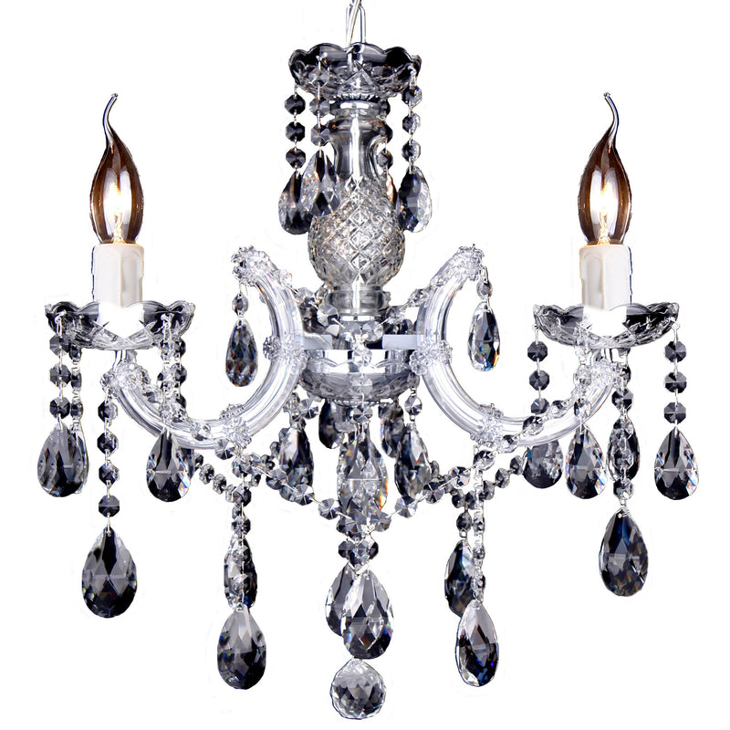 Zurich 3 Light Chandelier in Chrome with Clear Crystals - Crystal Palace Lighting