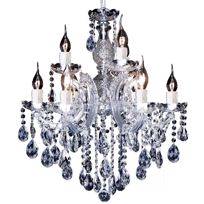 Zurich 9 Light Chandelier in Chrome with Clear Crystals - crystal-palace-lighting